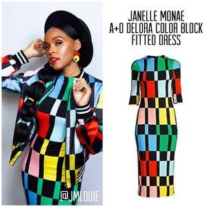 Alice + Olivia Delora Fitted Colorblock Dress